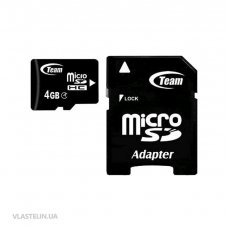 Карта памяти Team 4 GB microSDHC Class 4 + SD Adapter TUSDH4GCL403